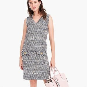 Jcrew fringe sheath in multicolor metallic tweed